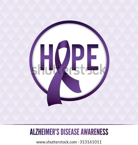 An Alzheimer's disease awareness badges and ribbon. - stock photo