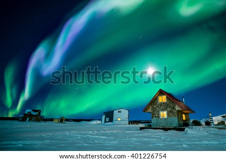 An amazing night display colorful aurora borealis at Great Slave Lake