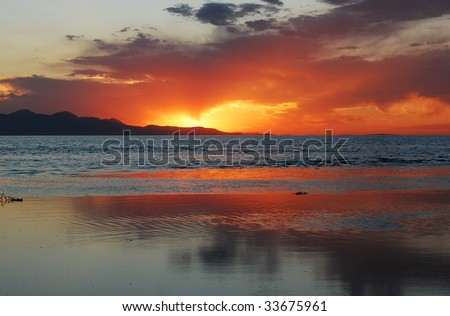 An amazing sunset over the Great Salt Lake in Utah. - stock photo
