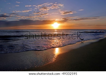 An Amazing Sunset over the Gulf of Mexico. - stock photo