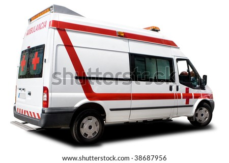 An Ambulance Isolated on a White Background - stock photo