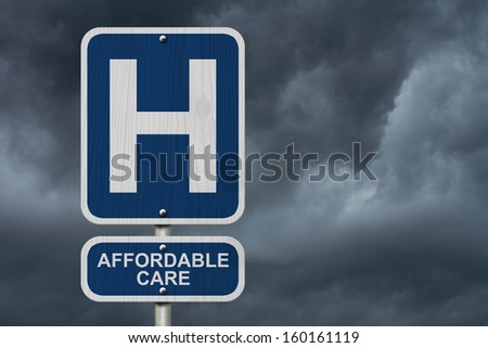 An American blue road sign with a stormy sky background with a capital H and word Affordable Care, Hospital and Affordable Care - stock photo