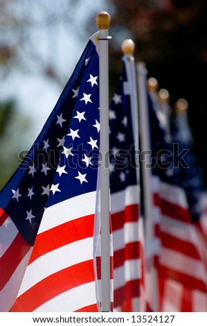 An American Flag display for celebration of a National holiday like Fourth of July, Memorial Day, Veterans Day etc. - stock photo