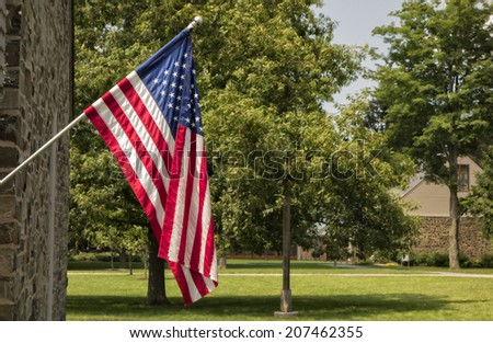 An American Flag on a pole in a park setting with trees.