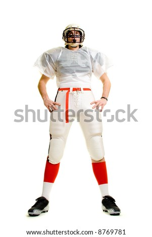 An American football player. Standing, low angle.