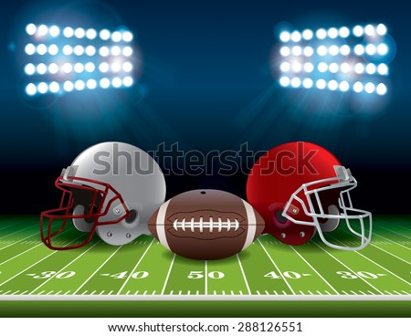 An American football stadium field with helmets and a football.