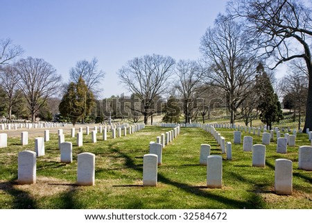 An American military cemetery with gravestones