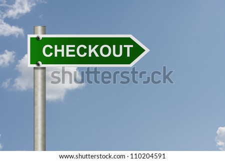 An American road sign with sky background and copy space for your message, Proceed to checkout