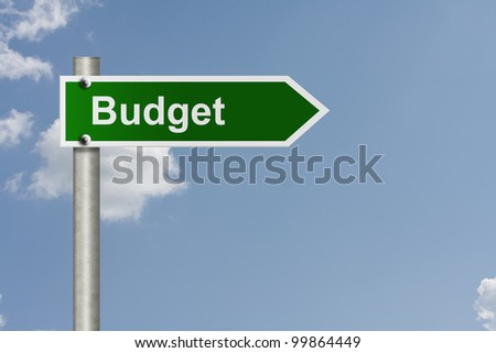 An American road sign with sky background and copy space for your message, Road map to making your budget - stock photo