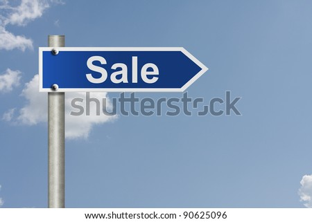 An American road sign with sky background and copy space for your message, Sale - stock photo