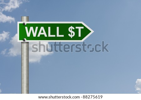 An American road sign with sky background and copy space for your message, Wall Street