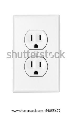 An American 110 volt three prong electrical power outlet isolated on white. - stock photo
