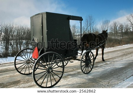 An Amish horse and buggy carriage. - stock photo