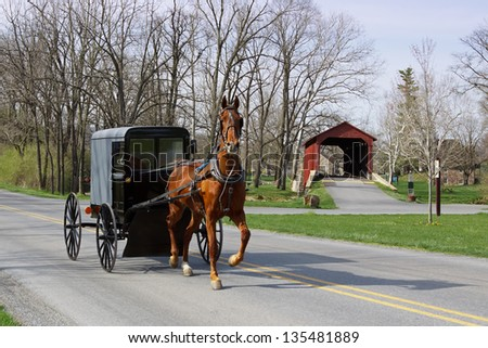 An Amish horse and carriage travels on a rural road in Lancaster County,Pennsylvania. - stock photo