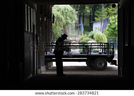 An Amish man and his hay wagon taken from inside his barn.  His silhouette stands in contrast to the bright greens of the spring outdoors seen through the opened barn door. - stock photo
