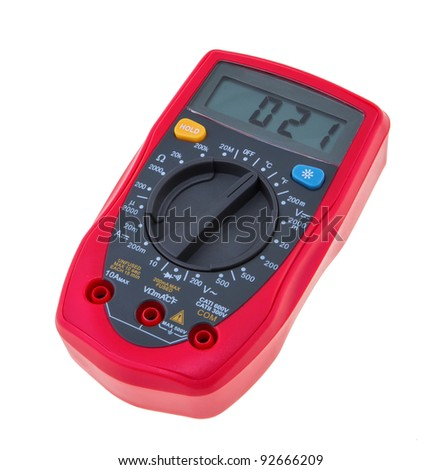 An analog multimeter on a white background. - stock photo