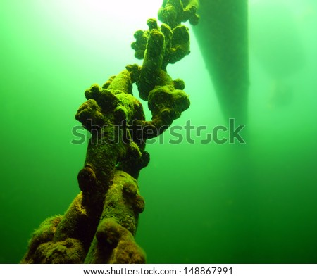 An anchor chain secures an old log in a lake.                                   - stock photo