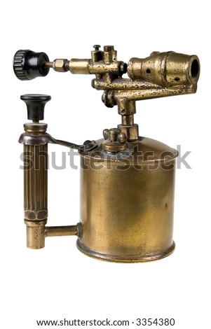 An ancient brass blowtorch isolated on white - stock photo