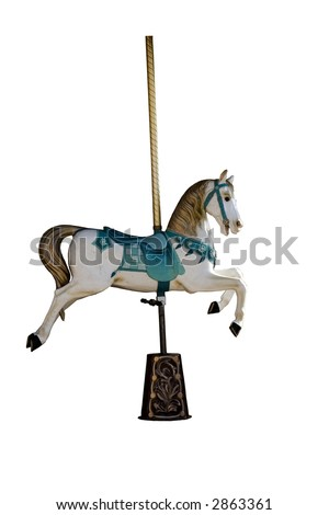 An ancient carousel horse isolated on white - stock photo
