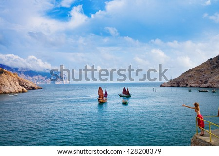 an ancient Chinese sailing vessel - reconstruction in Crimea - stock photo