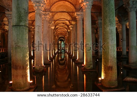an ancient Cistern in the city of Istanbul