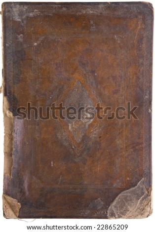 an ancient closed talmud on white  background - stock photo