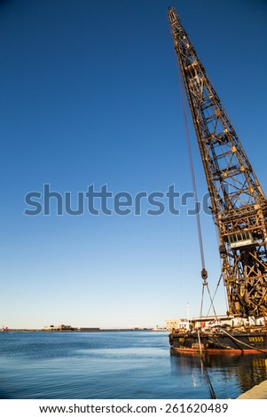 "An ancient crane named ""Ursus"" in the port of trieste - stock photo"