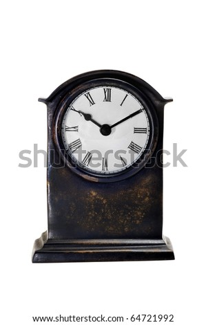 an ancient desktop clock on a white background - stock photo