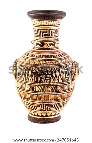 an ancient greek amphora isolated over a white background - stock photo