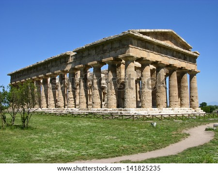 An Ancient Greek Temple and Columns in South Italy - stock photo