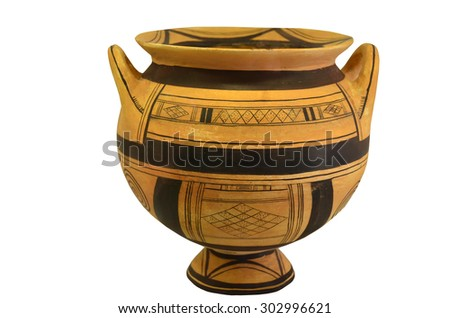 An ancient greek vase from the geometric period. Isolation against a white background - stock photo