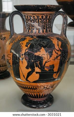 Ancient Greek Vase Mythological Paintings Black Stock Photo Edit