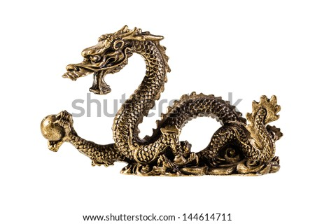 an ancient metallic golden dragon isolated over a white background - stock photo
