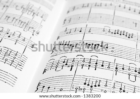 An ancient musical score - stock photo