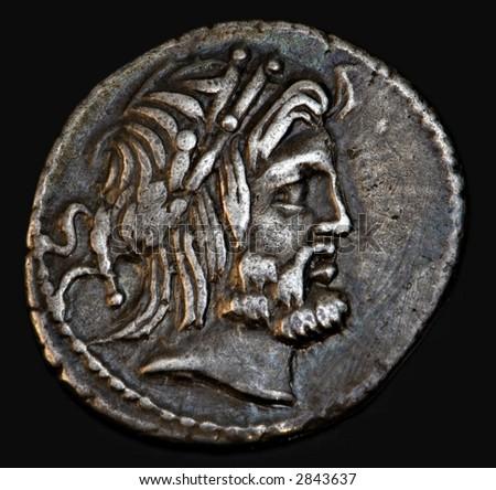 An Ancient Roman Coin With Senator Procilius - stock photo