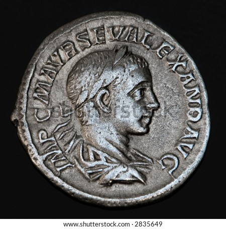 An Ancient Roman Coin With The Head Of Geta - stock photo