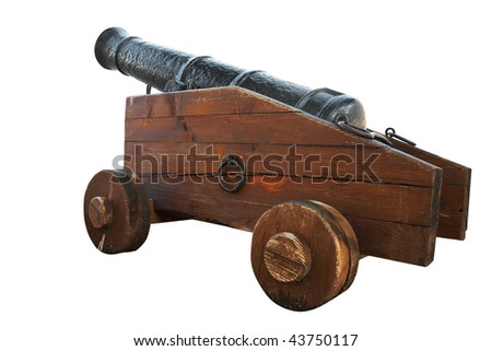 An ancient rusty cannon. Isolated on white, with clipping path. - stock photo