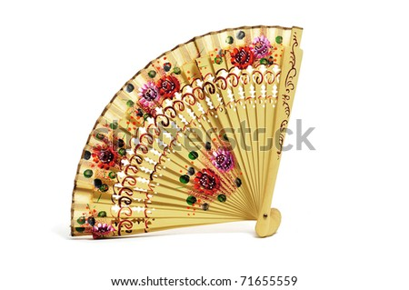 an ancient spanish hand fan on a white background - stock photo