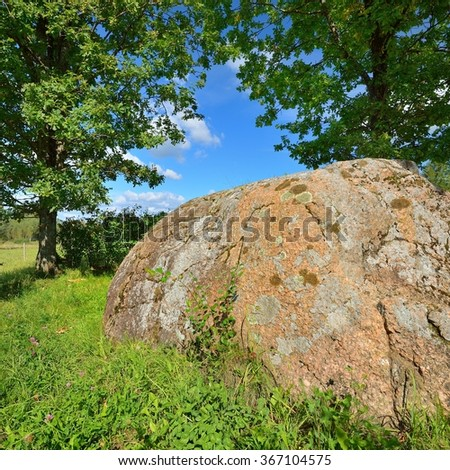 An ancient spiritual stone of Baltic tribes, Latvia