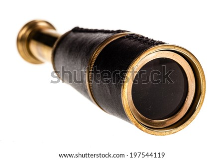 an ancient spyglass isolated over a white background - stock photo