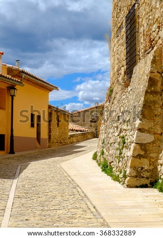 An ancient street in Morella, the province of Castellon, Spain. - stock photo