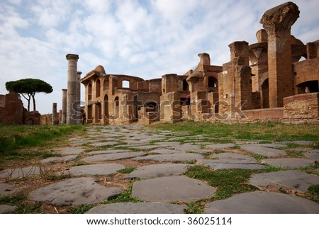 An ancient street in Ostia Antica, Italy