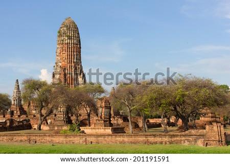 An ancient stupa at Wat Phra Ram temple, Ayutthaya, Thailand - stock photo