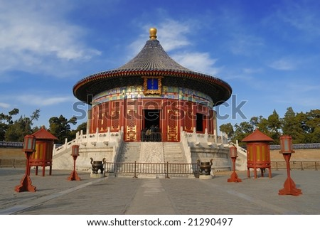 An ancient temple in Temple of Heaven,Beijing,China. - stock photo
