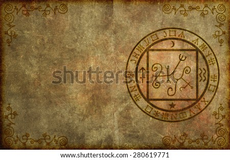 An ancient, textured paper page background with mystical magical occult sigil or seal and blank space for your copy. - stock photo