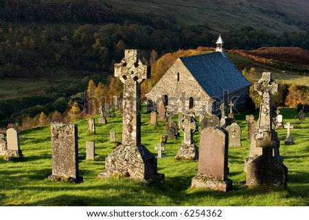 An ancient 15th Century church and graveyard near Roy Bridge in the Scottish Highlands - stock photo