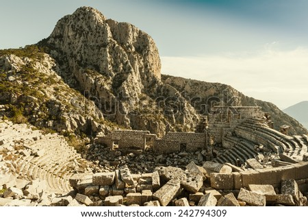 An ancient theater in Termessos, Turkey - stock photo