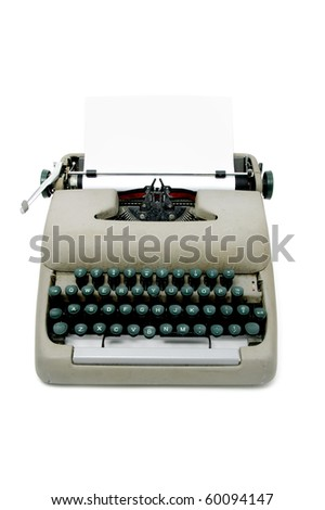 an ancient typewriter isolated on a white background - stock photo