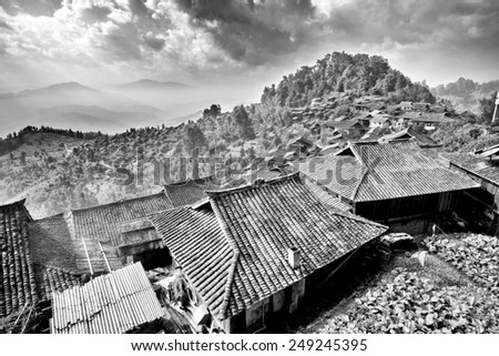 An Ancient Village in B&W - a remote area in China - stock photo