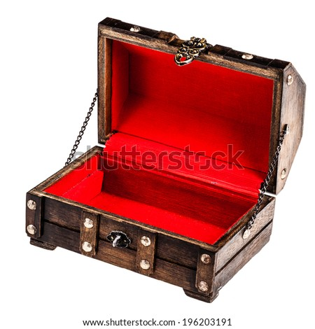 an ancient wooden chest isolated over a white background - stock photo